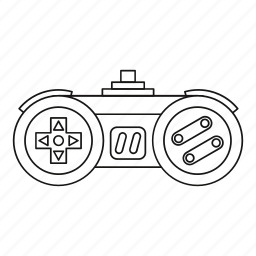 concept, controller, game, joystick, line, outline, video icon