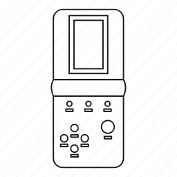 classic, game, line, outline, portable, retro, tetris icon