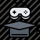cap, cybersport, game, gamer, gaming, graduate, training icon
