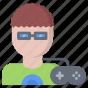 cybersport, game, gamepad, gamer, gaming, glasses, man icon