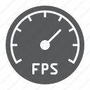 fps, frames, game, per, second, speedometer, video icon