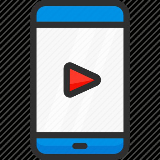 clip, mobile, movie, phone, player, smartphone, video icon