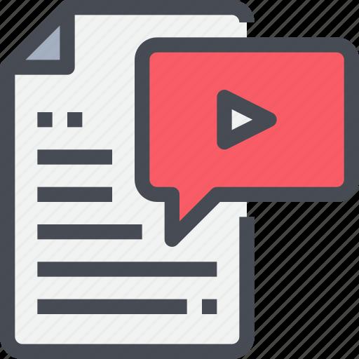 cinema, content, document, file, media, scipt, story, video icon