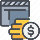 bugget, cinema, film, financial, movie, payment, video icon