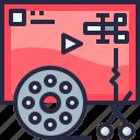 cut, edit, editor, film, movie, production, video icon