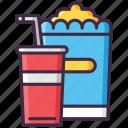 drink, food, popcorn, soda