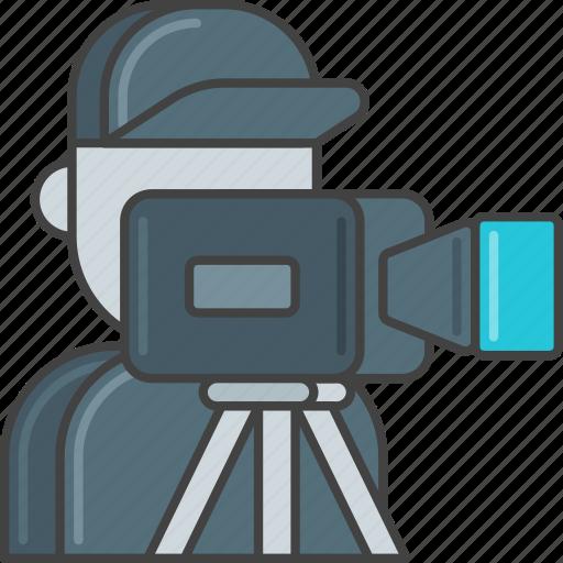 camera, film, movie, operator, production, staff, video icon