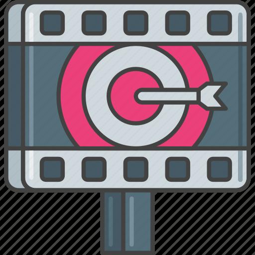 advertising, film, market, marketing, target icon
