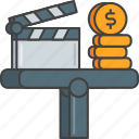 budget, film, movie, production, profit, revenue icon