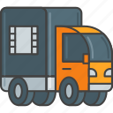 distribution, film, lorry, movie, truck icon