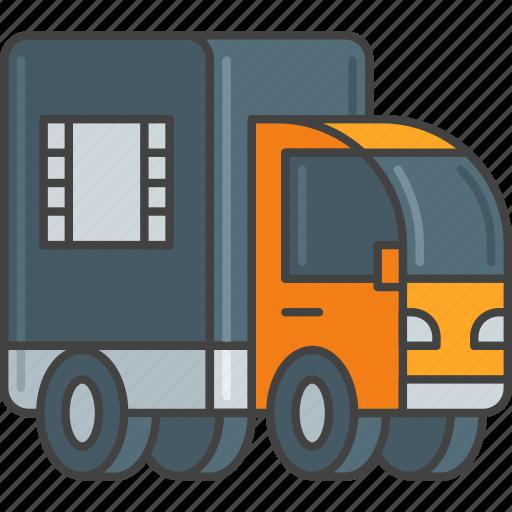 distribution, film, lorry, movie, truck icon