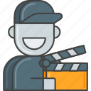 action, clipper, film, movie, production, staff, video icon