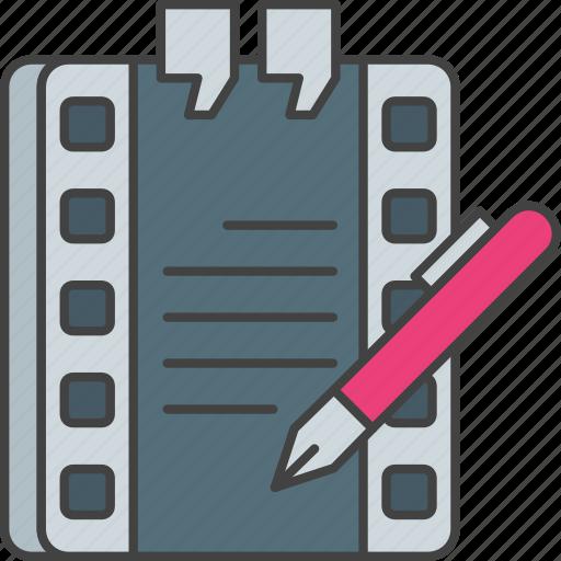 screenwriting, script, story, write, writing icon