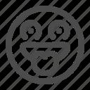 desire, emoji, emoticon, lust, tasty, want icon