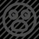 horrified, emoji, surprised, emoticon, amazed icon