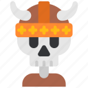 helmet, history, horns, skeleton, viking, warrior icon
