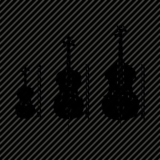 bass, cello, double bass, instrument, music, song, violin icon