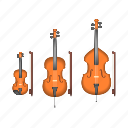 bass, cello, double bass, instruments, music, song, violin icon