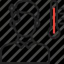 fever, sick, ill, temperature, thermometer icon