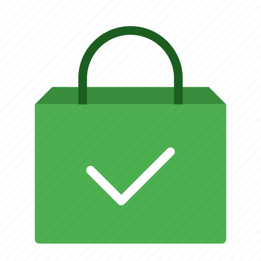 bag, buy, checkmark, done, shop, shopping icon