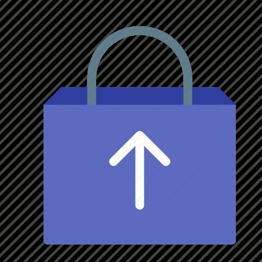 arrow, bag, buy, remove, shop, shopping icon