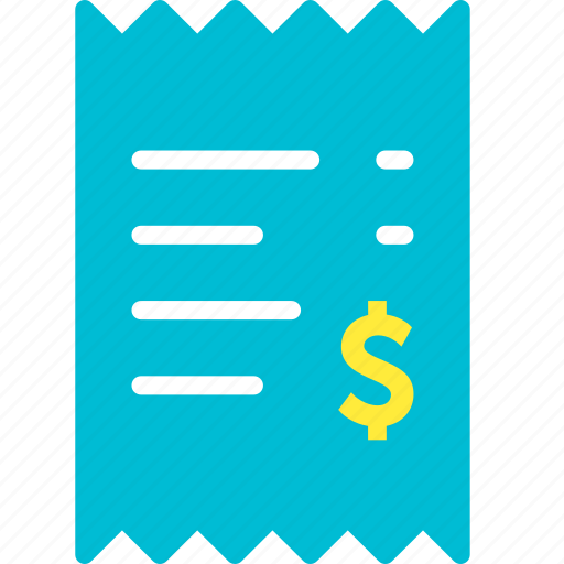 bill, dollar, invoice, payment, receipt, shop, shopping icon