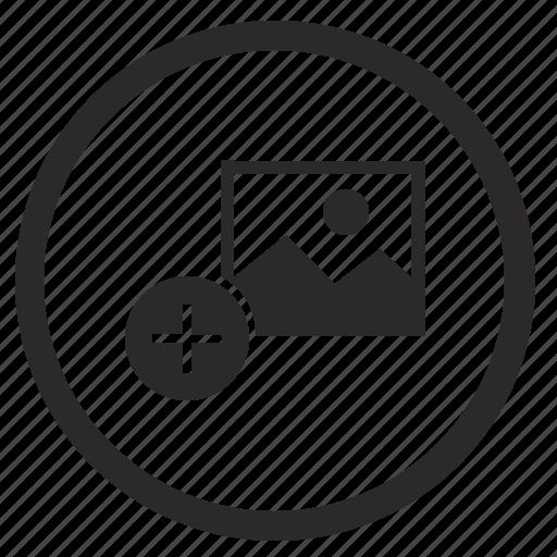 add, attachment, function, photo, picture, round icon