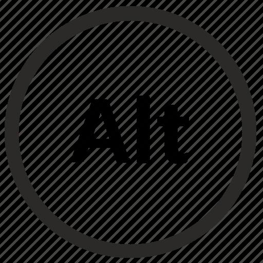 alt, function, keyboard, round icon