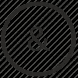 ampersand, keyboard, letter, lowcase, virtual icon