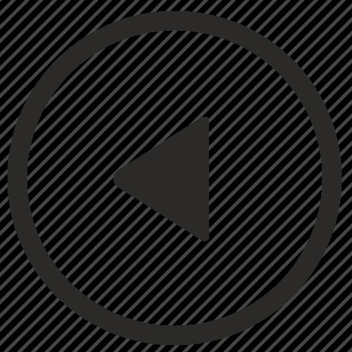 arrow, left, navigation, triangle icon
