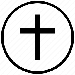 christian, cross, religion, round icon