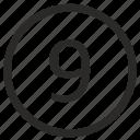 enter, keyboard, nine, number icon