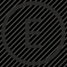 e, keyboard, letter, uppercase, virtual icon