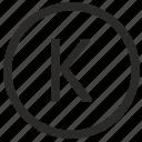 k, keyboard, letter, uppercase, virtual icon