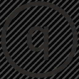keyboard, letter, lowcase, q, virtual icon