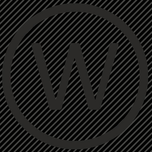 keyboard, letter, uppercase, virtual, w icon