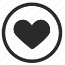 heart, like, love, romantic, round icon