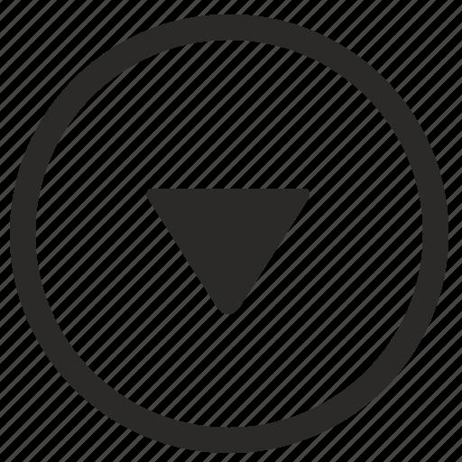 arrow, bottom, down, keyboard, navigation, triangle icon