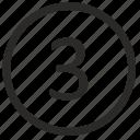 keyboard, number, round, three icon