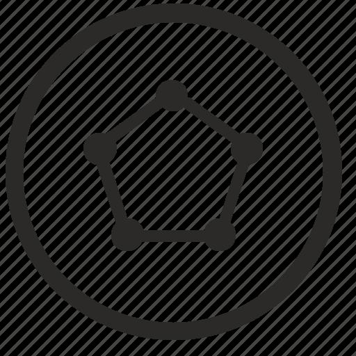 connect, figure, pentagon, pentagramm, round icon