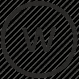 keyboard, letter, lowcase, virtual, w icon