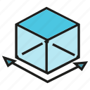 box, cube, dimension, magnitude, scale, size icon
