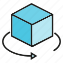 box, cube, rotate icon