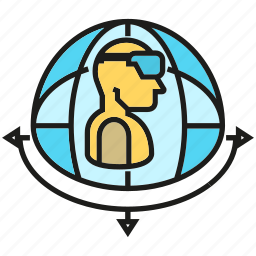 augmented reality, eyewear, globe, headset, virtual reality, vr, world icon