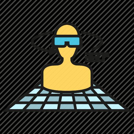 augmented reality, degrees, eyeglasses, goggle, headset, virtual reality, vr icon