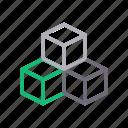 boxes, cube, reality, technology, virtual icon