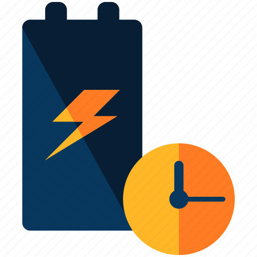 battery, clock, time icon