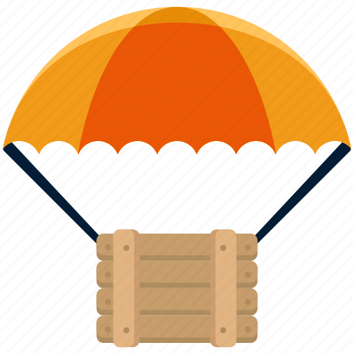 box, crate, drone, drop, package, parachute icon