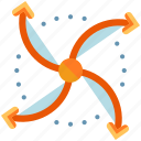arrows, device, drone, hover, propeller, technology icon