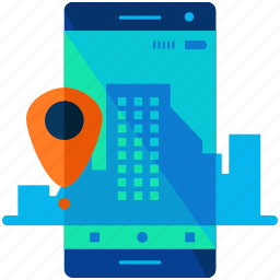 mobile, navigation, phone, pointer, smartphone, technology icon